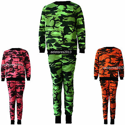 Kids Girls Neon Pink Orange Green Camouflage Print Tracksuit Age 2-13 years