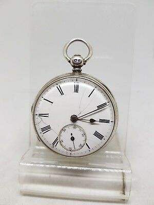 Antique solid silver fusee gents Chester pocket watch 1862 ref306