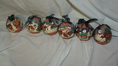Set of 6 Vintage Christmas Ornaments Snowman Winter Scene Paper Mache/Decoupage