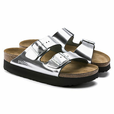 5771680198a PAPILLIO Birkenstock Sandals ARIZONA silver black Platform leather narrow  NEW