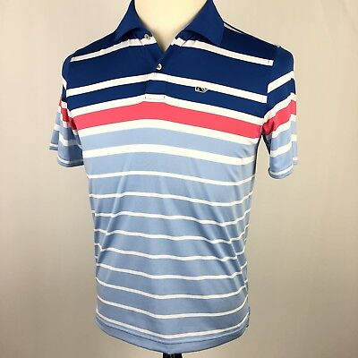 Vineyard Vines Performance Golf Polo Shirt Youth Large 16 Blue Pink Stripe Whale
