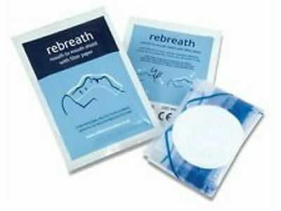 Rebreath Foil Wrapped CPR Mouth To Mouth Face Shields with Filter Paper
