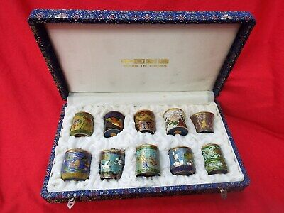 CLOISONNE Chinese Set of 10 Miniature Lidded Jars in Presentation Box