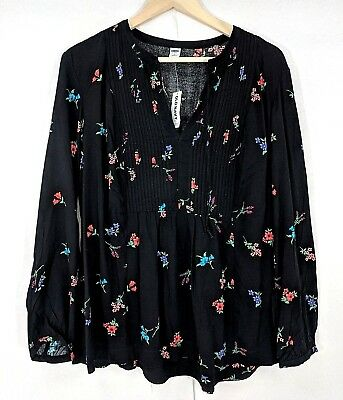 9aa34cf87b7 NWT Old Navy Womens Black Floral Tunic Pleated Front Long Sleeve Top Large