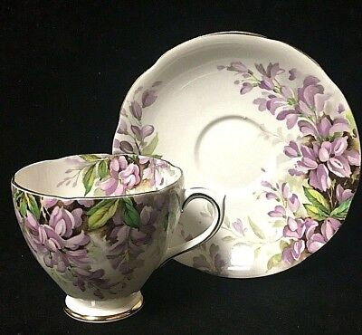 Vintage Royal Standard Bone China Gold Lavender Floral Wistaria Teacup & Saucer
