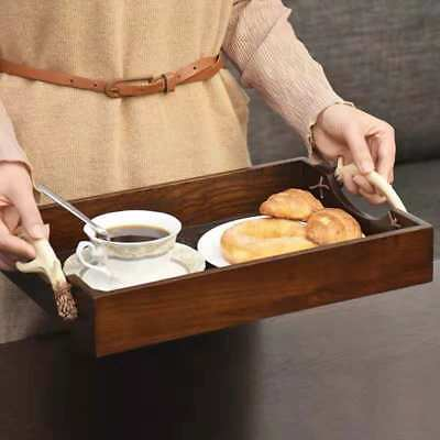 Vintage Wooden Serving Tea Coffe Tray Deer Antler Handle Portable Breakfast Food