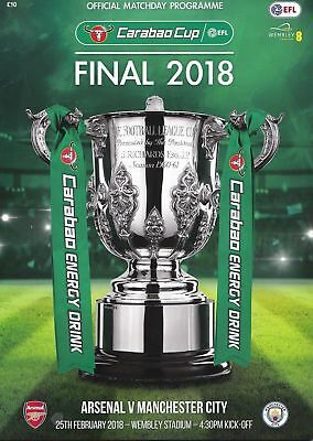 Arsenal Man City Carabao League Cup Final 2018 Mint Programme Manchester