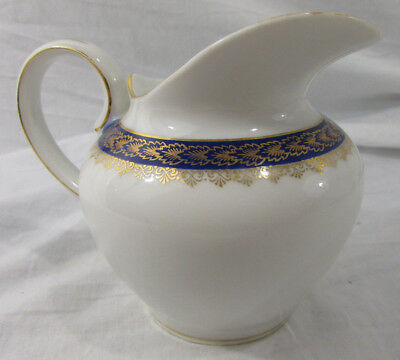 Antique CT Altwasser Silesia German China Creamer Pitcher Leafs and Blue Band