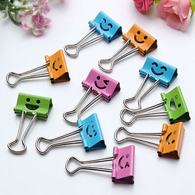 2019 Hot 10 Pcs Smile Metal Clip Cute Binder Clips Album Paper Clips Stationary