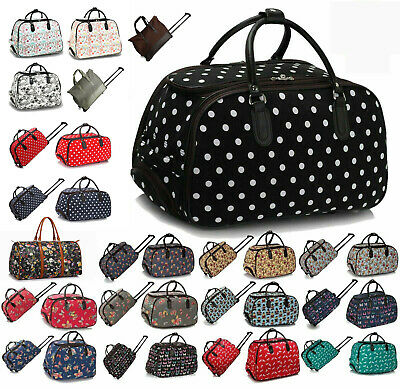 Ladies Travel Bags Women's Holliday Trolley Top Hand Holdall Luggage With Wheels