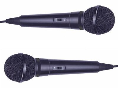 Pair of Black Microphone Ideal for Karaoke 2.8m cable 6.35mm Plug On/Off Switch