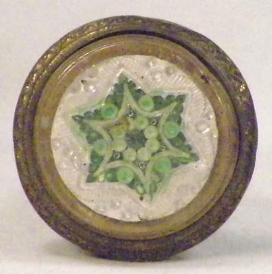 2 Antique Curtian Tie Backs Victorian Pressed Glass Green White Stars Wood Brass