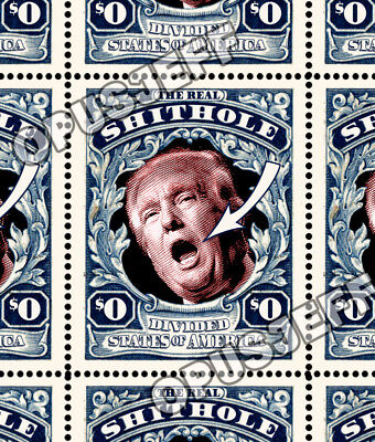 Trump - The Real Shithole - Art Stamps (Artistamp, Faux Postage, REPRO)  RESIST!