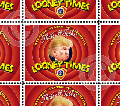 Trump - Looney Times - Art Stamps (Artistamp, Faux Postage, REPRO)  RESIST!
