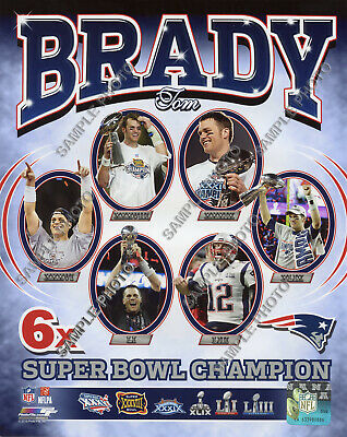 Tom Brady 6 Time Super Bowl Champion New England Patriots Authentic 8x10 Photo