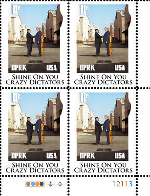 Trump - Shine On You Crazy Dictators - (Artistamp, Faux Postage, REPRO)  RESIST!