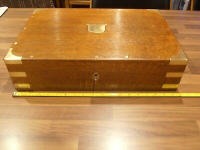 Large Brass Bound Oak Lined Collectors box with lift out tray , lock & key