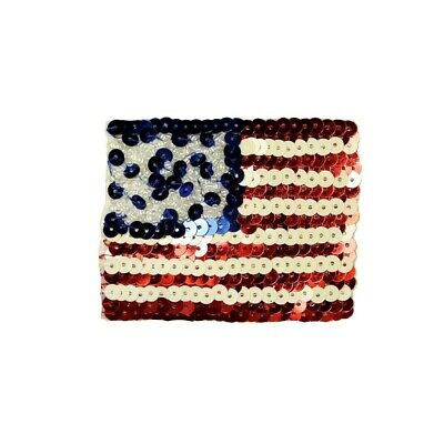 566e65b4a32 ID 1037 Sequin American Flag Patch USA Patriotic Embroidered Iron On  Applique