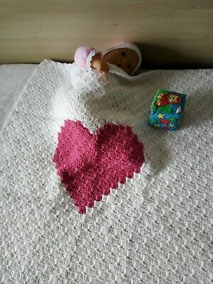 Hand crochet wool baby blanket with Heart/Hand-knitted children quilt with Heart