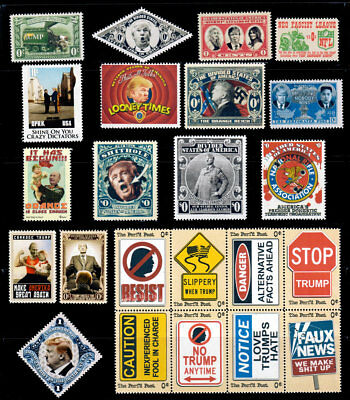 Trump - Set of 23 Different Art Stamps (Faux Postage, REPRO) RESIST!!!