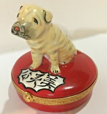 Shar Pei Limoges Chinese SharPei Seated Dog Limoges Box (Artoria) Excellent!!!