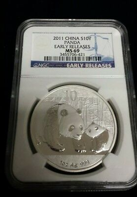 2011 1oz China Panda 10 Yuan .999 Silver Coin Early Releases NGC MS69