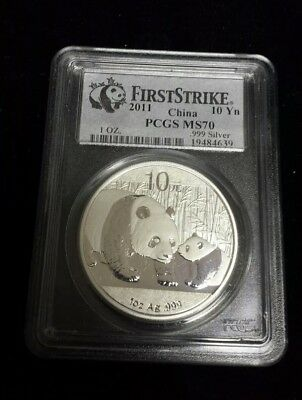 2011 1oz China Panda 10 Yuan .999 Silver Coin First Strike PCGS MS70