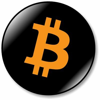 1 x Bitcoin Logo 32mm BUTTON PIN BADGE Miner Coin Crypto Badge Gold Currency