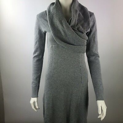 957ad99657 ATHLETA Gray Cowl Neck Long Sleeve Sweater Dress Pockets Organic Cotton Wool  S