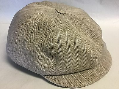9323aae3 Anthony Peto France 8/4 Beige 100% Cotton Newsboy Cap Bakers Boy Cabby Xl