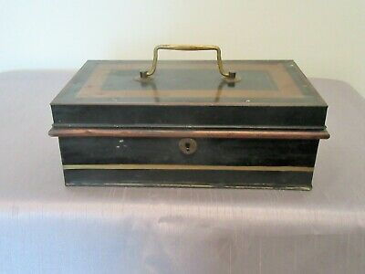ANTIQUE ENGLISH TOLE WARE CASH BOX WITH HANDLE & Removable Change Insert Drawer