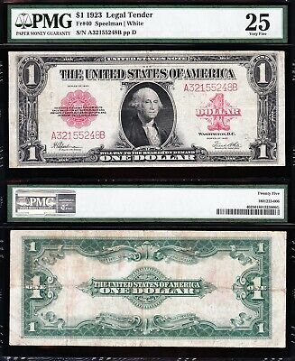 VERY NICE Bold & Crisp VF+ 1923 $1 RED SEAL US Note! FREE SHIP! PMG 25 A32155248