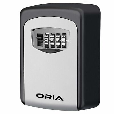 ORIA Key Storage Lock Box, 4-Digit Combination Lock Box, Wall Mounted Lock Box,