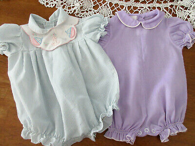 2 VINTAGE ROMPERS BIB COLLAR APPLIQUE STRIPES and PURPLE WHITE 9 mo BABY REBORN
