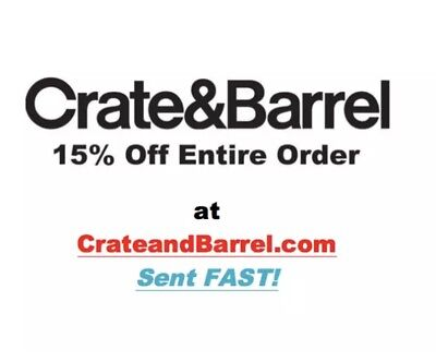 One (1) Crate and Barrel coupon- 15% off Discount *works on furniture* Sent FAST