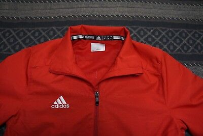 d90fd35e91d4 NWT ADIDAS WOMEN S Climalite Utility Jacket Power Red  White Size ...