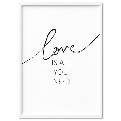 LOVE IS ALL YOU NEED - Typography Wall Art Print Poster Canvas