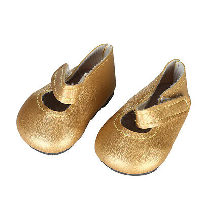 "Doll Sticky Strap PU Leather Shoes for 18"" AG American Doll Doll Clothes gold"