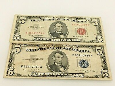 Pair of 1953 $5 Blue Seal Silver Certificate Note &1963 $5 Dollar Red Seal Note