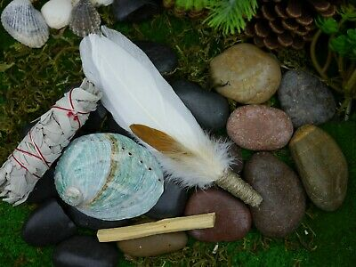 Smudging Kit  Feather Wand  Shell 9.5cm White Sage, Palo Santo Smudge