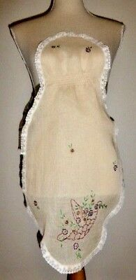 Antique Apron 1920s-30s Handmade Vintage Embroidered