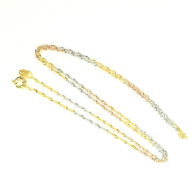 3-tone White, Rose, Yellow Gold Plate 925 Sterling Silver Necklace Italy Made