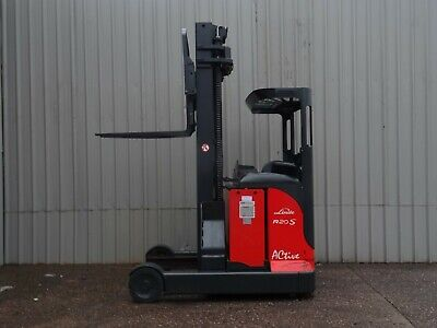 LINDE R20s USED ELECTRIC REACH FORKLIFT TRUCK. ( #2306 )