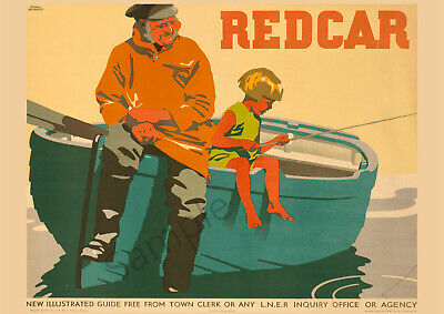VINTAGE POSTER Redcar Tourism RAILWAY Travel Advert ART PRINT A3 A4 Fishing Boat