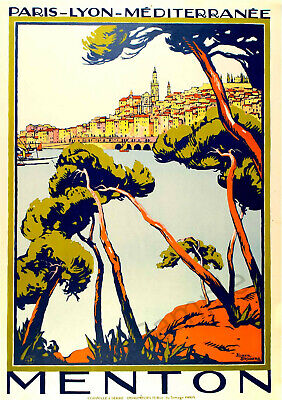 Foreign VINTAGE POSTER Menton France French Travel Advert Art Deco PRINT A3 A4