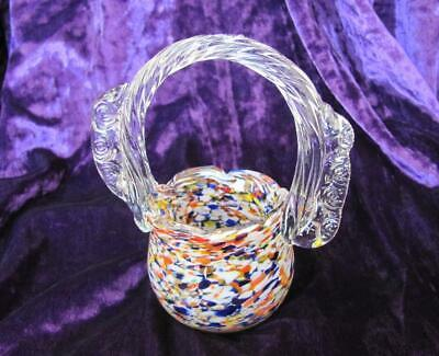 Vintage Italian Murano Multi Color Crystal Glass Decorative Candy Bowl Basket