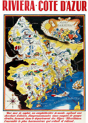 VINTAGE POSTER French Riviera Tourist Map Cote D'Azur Retro Print A3 A4 France