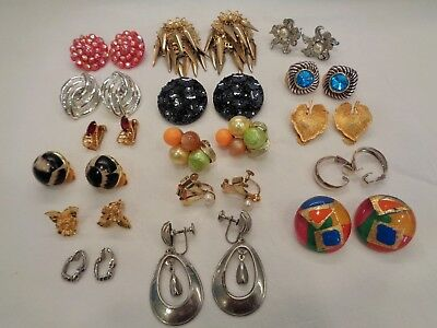 Lot 16 Vintage Clip & Screw Back Earrings - Estate Find