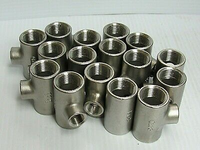 """New Lot Of 16 Inoc Female 304 S/S Stainless Steel Tee T 3/4""""X3/4""""X3/8"""""""