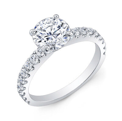 2.40 Ct Round Cut Solitaire Diamond Engagement Ring 14K Solid White Gold Rings